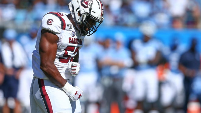 South Carolina linebacker Ernest Jones, a Ware County graduate, reacts after a stop against North Carolina in August.