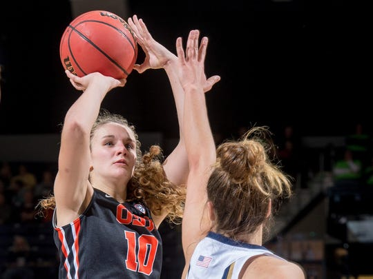 Oregon State freshman guard Katie McWilliams (10), pictured here in Monday's loss at No. 3 Notre Dame, has moved into the starting lineup in place of injured Sydney Wiese.