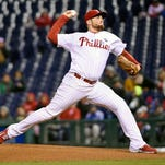 Phillies starting pitcher Alec Asher throws the ball during the first inning Oct. 3 against the Miami Marlins at Citizens Bank Park. Asher will be among the pitchers fighting for a spot in the rotation during spring training.