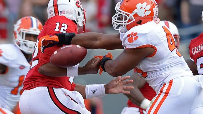 Clemson linebacker B.J. Goodson (44) leads the team with 83 tackles this season.