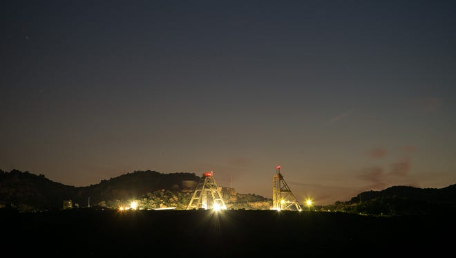 The old mine outside Oak Flats at night in near Superior on June 23, 2015.