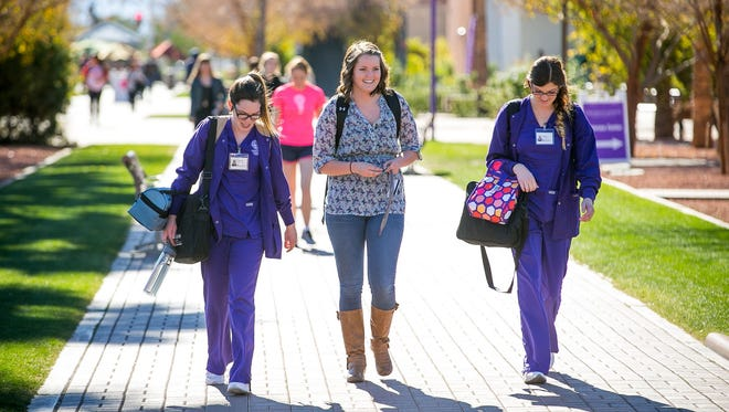 Students at Grand Canyon University's campus in west Phoenix.