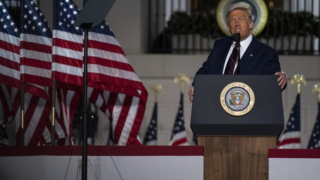 President Donald Trump speaks from the South Lawn of the White House on the fourth day of the Republican National Convention, Thursday, Aug. 27, 2020, in Washington.