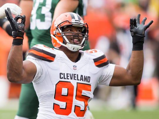 Cleveland Browns defensive end Myles Garrett celebrates