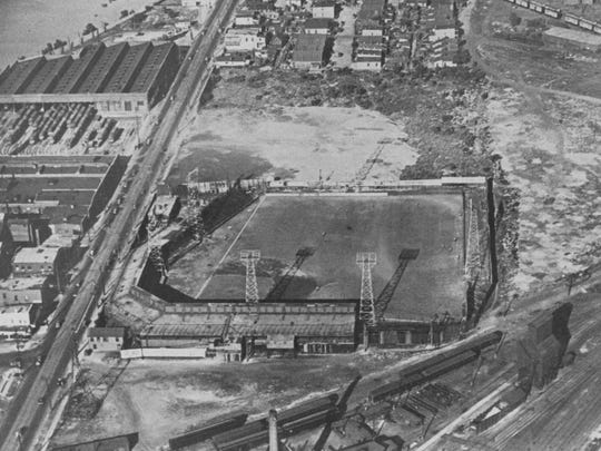 An aerial view of the West Washington Street Park, home to the Indians from 1905-31.