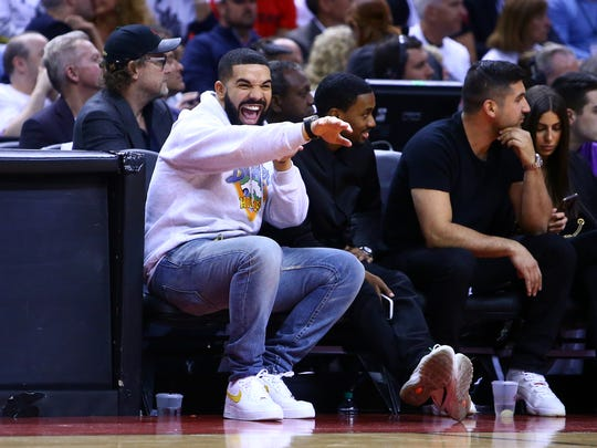 Milwaukee's Kiss FM station is banning Drake ahead of the Bucks series against Toronto Raptors. Pictures is an image of Drake in the second half during Game Five of the second round of the 2019 NBA Playoffs between the Philadelphia 76ers and the Toronto Raptors at Scotiabank Arena on May 7, 2019 in Toronto, Canada.