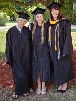 Chelmsford resident Vittoria Forte recently graduated from North Shore Community College in a virtual commencement on June 25, making her the third generation in her family to receive an allied health degree from NSCC. Pictured, is Vittoria with her mother Jennifer Forte and grandmother Sherrill DiPietro.