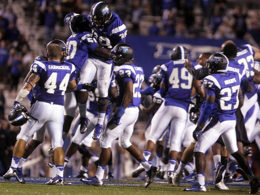 MTSU celebrates win over Memphis (2013)