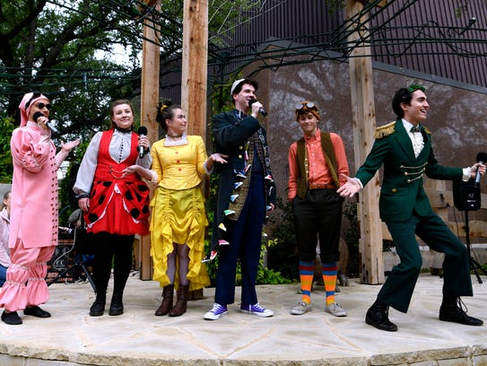 """Cast members from the Abilene Christian University production of """"James and the Giant Peach"""" perform a selection of songs for families April 21 at the Adamson-Spalding Storybook Garden."""