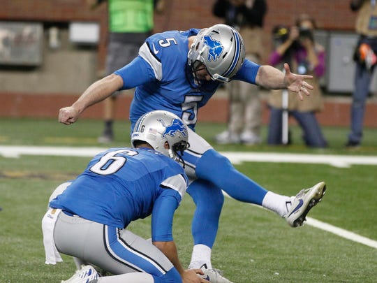 Lions kicker Matt Prater kicks the game 37-34 overtime game winning field goal to beat the Chicago Bears on Oct. 18 at Ford Field.