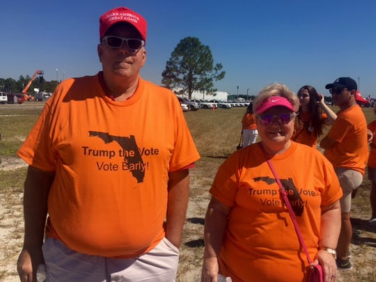 "Their first bout volunteering, Gary and Sally Taylor said they came out to the Collier County Fairgrounds Sunday to help herald Donald Trump into office. As Election Day nears, they said, it's important ""to do all you can."""