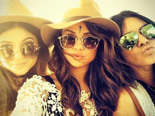 Selena Gomez shared a photo with Kylie and Kendall Jenner from Coachella on Friday, April 11, 2014.