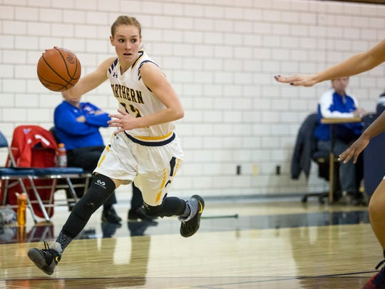 Port Huron Northern senior Kathleen O'Connor drives the ball down court during a basketball game Wednesday, Jan, 4, 2017 at Port Huron Northern High School.