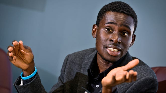 Jugaad Leadership Program adviser Emmanuel Oppong talks about the need for diversity in a community's leadership roles during an interview Thursday, Sept. 8, in St. Cloud.