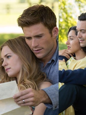 """The parallel love stories of """"The Longest Ride"""" are played out by, from left, Britt Robertson, Scott Eastwood, Oona Chaplin and Jack Huston."""