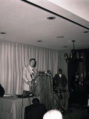 Governor Ronald Reagan briefing press at the Spa Hotel, Dec. 5, 1968.