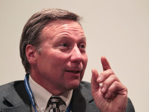 David Camm answers questions about his experiences after speaking at an Indiana State classroom Wednesday afternoon in Terre Haute. Camm was giving his thoughts at a wrongful convictions course. April 23, 2014