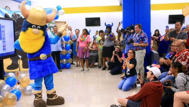 The Del Mar College Viking mascot is revealed to students and faculty Thursday, April 27, 2017, at Del Mar College East.