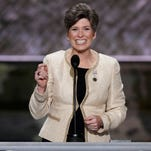 Sen. Joni Ernst, R-Iowa, speaks during the opening day of the Republican National Convention in Cleveland, Monday, July 18, 2016.