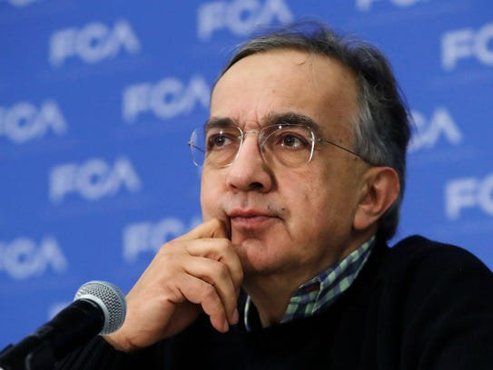 Fiat Chrysler CEO Sergio Marchionne during a briefing