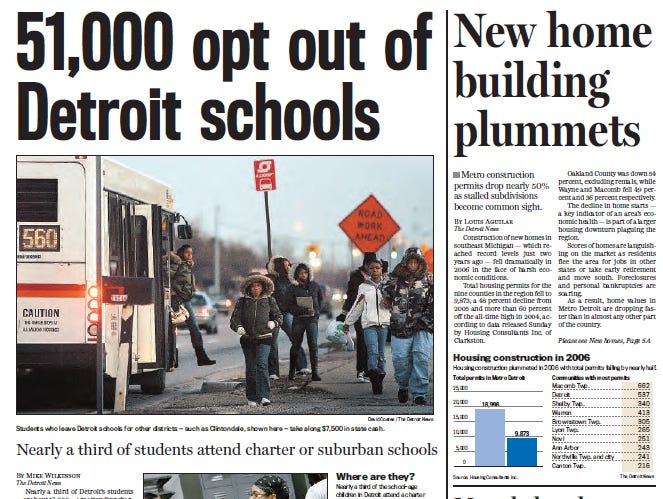 View the front page of The Detroit News each day of the week of January 15, 2007