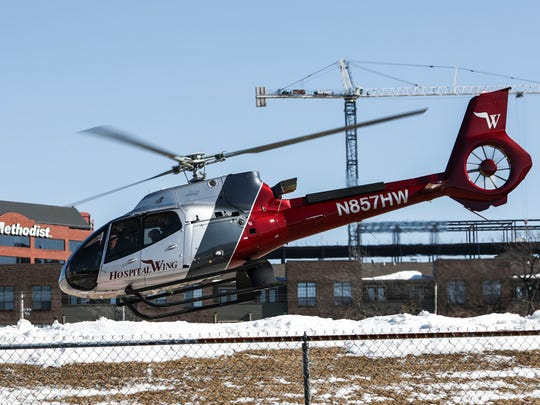 January 18, 2018 - A Hospital Wing helicopter takes off from it's location at 1080 Eastmoreland Ave in Memphis.  Medical insurer BlueCross BlueShield of Tennessee paid more than $50 million for 2,000-plus emergency air transports during 2016, according to the company. Hospital Wing transports an average of 250 patients monthly from one hospital to another, or from the scene of a medical emergency, according to the service's website.