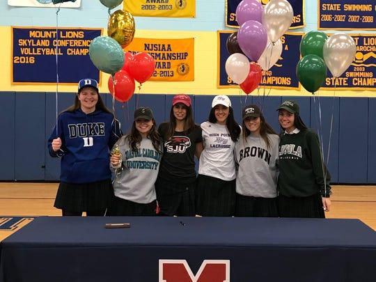 Pictured (left to right) in the gymnasium at Mount Saint Mary Academy: Shayna Hollander, Jennah Santiago, Samantha Tush, Emma Genovese, Alaina Parisella and Maria Jaeckel.