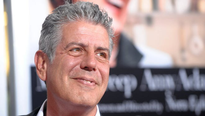 """Anthony Bourdain attends the premiere of """"Julie & Julia"""" at The Ziegfeld Theatre, in New York in 2009."""
