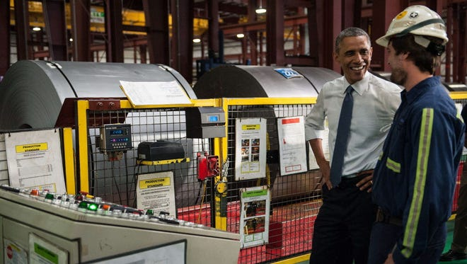 President Obama visits a steel plant in Princeton, Indiana, on Oct. 3.