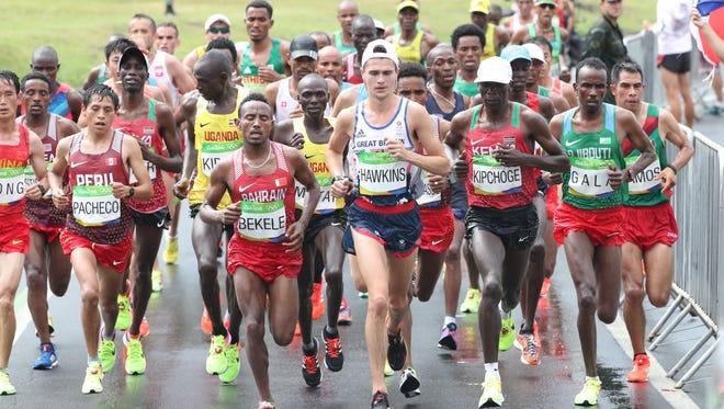Callum Hawkins (GBR) during the men's marathon in the Rio 2016 Summer Olympic Games at Sambodromo.