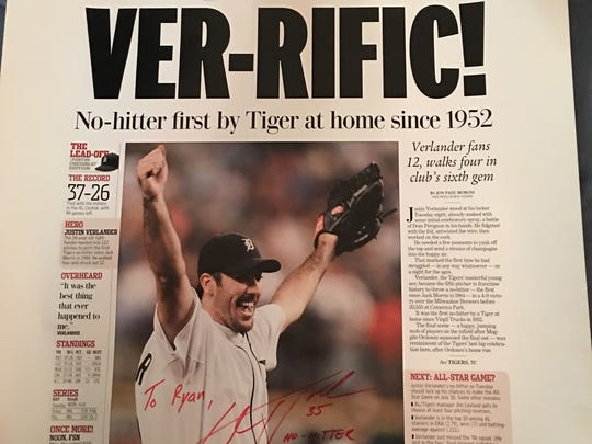 Both Justin Verlander and his dad Richard signed this reprint commemorating J.V.'s first career no-hitter on June 12, 2007.