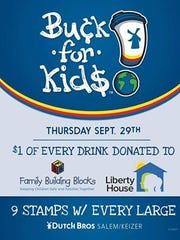 Dutch Bros Coffee is celebrating National Coffee Day on Thursday, Sept. 29 by donating $1 for every drink sold to Family Building Blocks and Liberty House.
