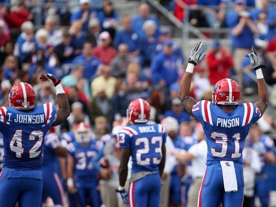 Louisiana Tech players react during a 2014 win over
