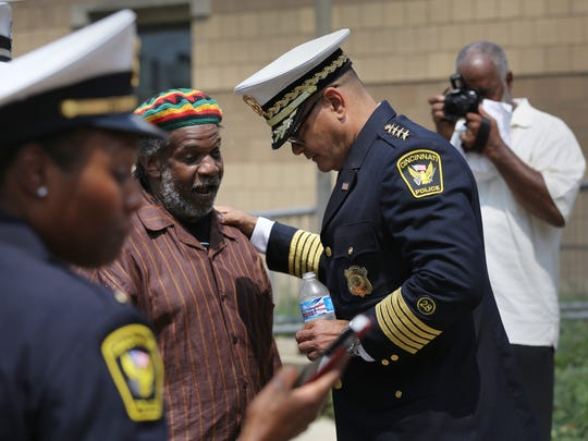 Cincinnati Police Chief Jeffrey Blackwell talks to