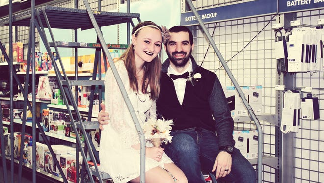 Taylor Spurlock and Caleb Mace wed Jan. 18 at the place they met, Best Buy in Muncie.