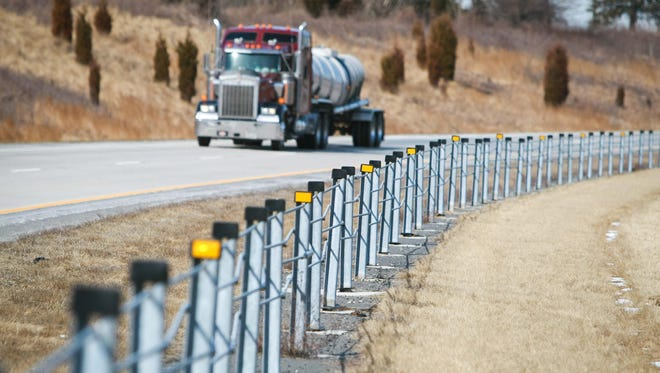 Cable barrier fencing seen along Del. 1 near Middletown in 2014.