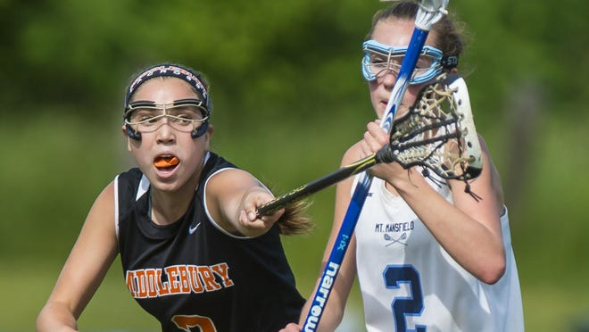 Middlebury's Jesse Hounchell, left, pressures Mount Mansfield's Ella King in Jericho on Tuesday.