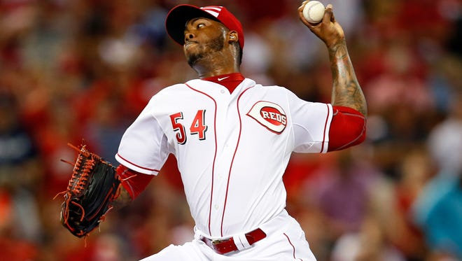 Jul 14, 2015: National League pitcher Aroldis Chapman (54) of the Cincinnati Reds throws against the American League during the ninth inning of the 2015 MLB All Star Game at Great American Ball Park.