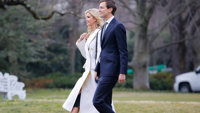 Ivanka Trump, daughter of President Donald Trump, and her husband, senior adviser Jared Kushner, walk to Marine One on the South Lawn of the White House in Washington, Friday, Feb. 17, 2017, for a short trip to Andrews Air Force Base, Md., then onto South Carolina and Florida.