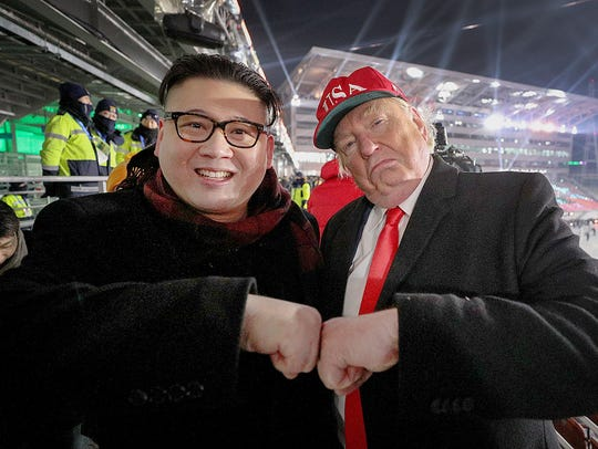 A Kim Jong Un impersonator and a Donald Trump impersonator