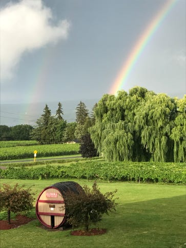 A double rainbow was part of the view from Veraisons