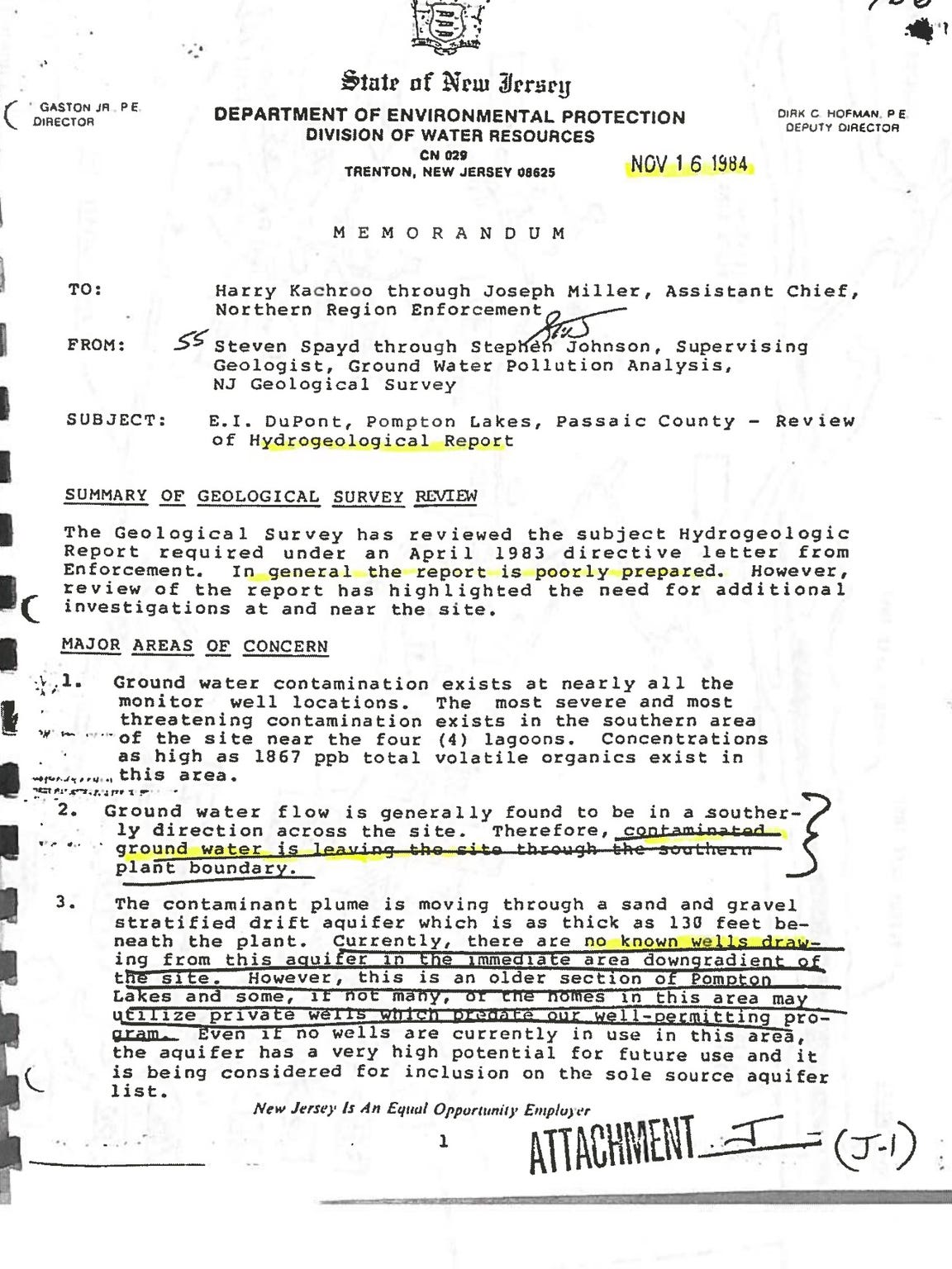 Internal DEP document in 1984 makes first mention that solvents were migrating off DuPont property.