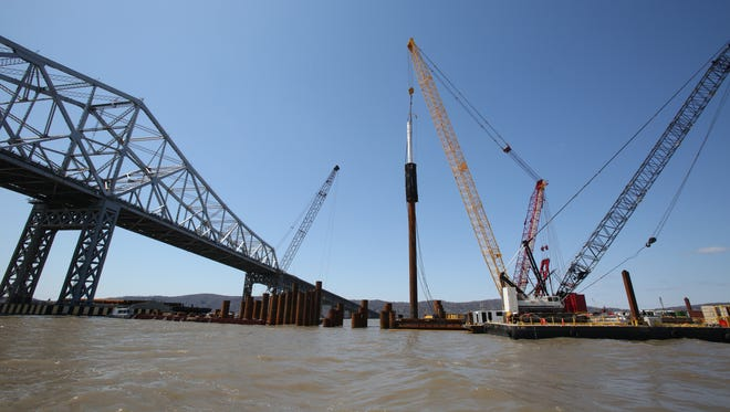 Construction barges near the Tappan Zee Bridge as seen from a Westchester County Police marine unit boat April 16, 2014.