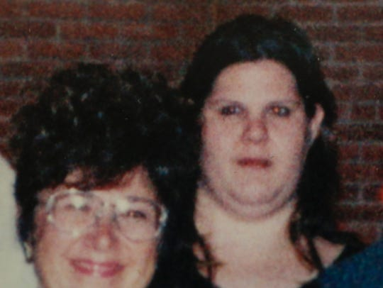 A copy of a photo shows Lydia Dale Huebner, right,