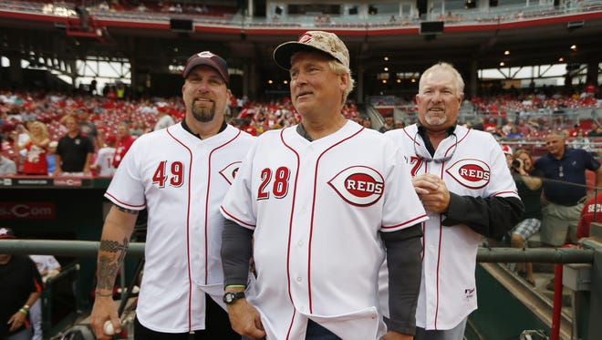 The former Reds trio known as the Nasty Boys (from left) - Rob Dibble, Randy Myers and Norm Charlton - were named as the grand marshals of the 96th Findlay Market Opening Day Parade.
