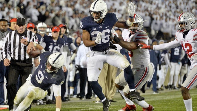 Tailback Saquon Barkley (26) certainly sparked this winning streak. But Saturday night may depend more on quarterback Trace McSorley (9). He must use his legs effectively to help spread the field and open up possibilities.