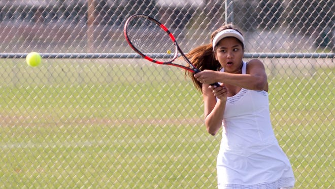 Lakeview's Anne Sangliana at the All-City Tennis tournament at Pennfield High School on Saturday