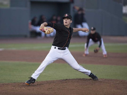 DL Hall takes the mound during a Delmarva Shorebirds