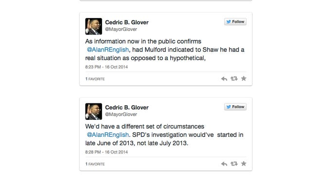 Mayor Glover tweets with The Times Oct. 16, 2014.