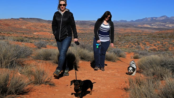 St. George resident Emalee Stubbs, front, and her miniature dachshund, Oscar, hike the Pioneer Hills Trail in the Red Cliffs Desert Reserve north of St. George with St. George resident Becky Smith, back, and her shih tzu, Squeakers McGee.